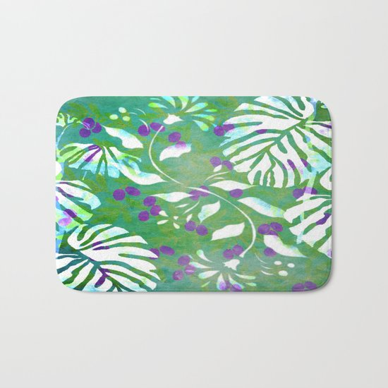 Tropical Flowers and Leaves Abstract  Bath Mat