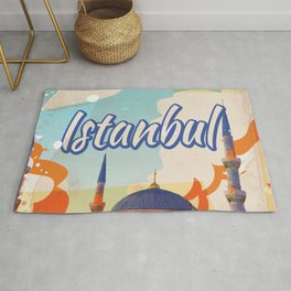 Istanbul Aya Sophia Mosque vintage travel poster Rug