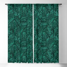 Elegant abstract black emerald green tropical palm tree Blackout Curtain