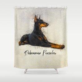 Doberman Pinscher Shower Curtain