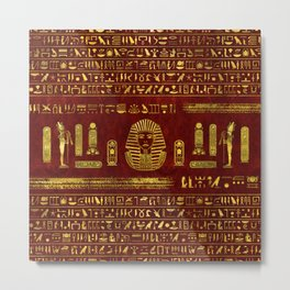 Golden Egyptian Sphinx on red leather Metal Print
