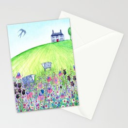 Summer Meadow, landscape painting Stationery Cards