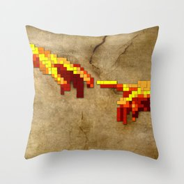 Michelangelo hands. Pixelation Throw Pillow