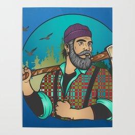 Hipster Lumberjack Blue Poster