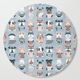 Doggie Coffee and Tea Time I // blue grey Cutting Board