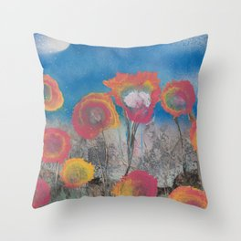 Pink and Yellow Flowers at Twilight - Spray Paint Art Throw Pillow