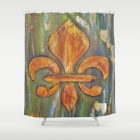 fleur de lis Shower Curtains featuring Fleur De Lis by Crystal Nero
