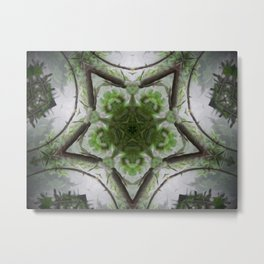 Green and Silver Tree Mist Part 1 Metal Print