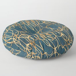 Rose Gold Elegant Scribbles on Steel Blue Suede Floor Pillow