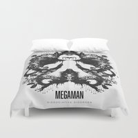 psychology Duvet Covers featuring Megaman Geek Ink Blot Test by Barrett Biggers
