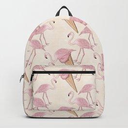 Flamingo And Flamingo Ice Cream Pattern Backpack