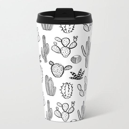 Cactus desert southwest palm springs festival house plant succulent terrarium black and white art Metal Travel Mug