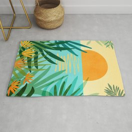 Tropical Ocean View / Landscape Illustration Rug