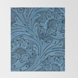 Cornflower Blue Tooled Leather Throw Blanket