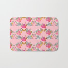 Wings and Roses Blush Pink Bath Mat