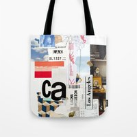 los angeles Tote Bags featuring Los Angeles by Emily Rickard