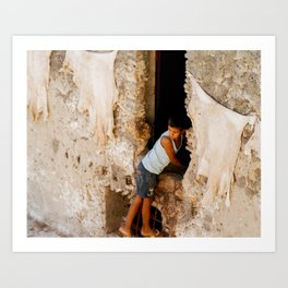 Leather tanning Fes   Morocco Art Print