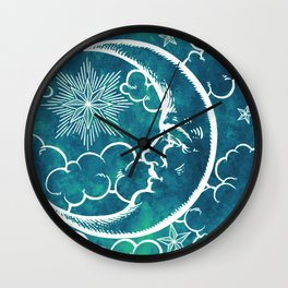 Moon vintage marine green Wall Clock