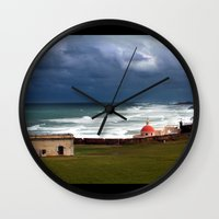 puerto rico Wall Clocks featuring San Juan, Puerto Rico by Eleanor Kipping