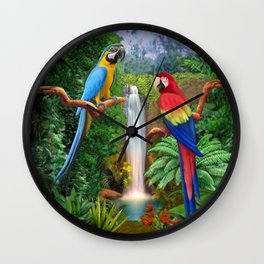 Macaw Tropical Parrots Wall Clock