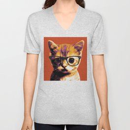 Pop Art Cat Orange Unisex V-Neck