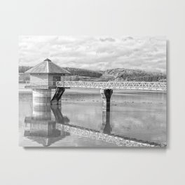 Cropston Reservoir Black And White Metal Print