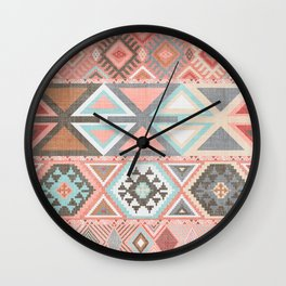 Aztec Artisan Tribal in Pink Wall Clock