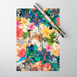 tiger and colorful flowers Wrapping Paper