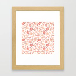 Baby pink botanical illustration pattern, home decor, organic flowers, bright and light hand drawing Framed Art Print