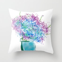Vibrant Colors Of Hydrangeas Painting Throw Pillow