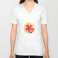 colombia V-neck T-shirts featuring WORLDCUP IS COMING! - COLOMBIA by Andres Corredor