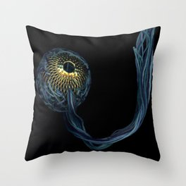 Shades of Blue with Gold Throw Pillow