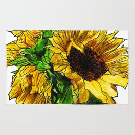 Sunflower In Mason Jar Rug