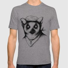 Hipster Lemur MEDIUM Tri-Grey Mens Fitted Tee