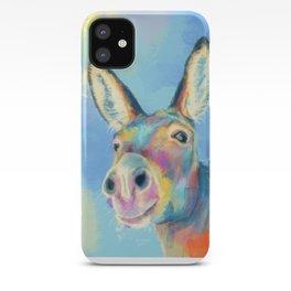 Carefree Donkey - Digital and Colorful Animal Illustration iPhone Case