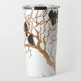 Black Birds on Brown Branches Clusters Jean Dunand Art Deco Travel Mug