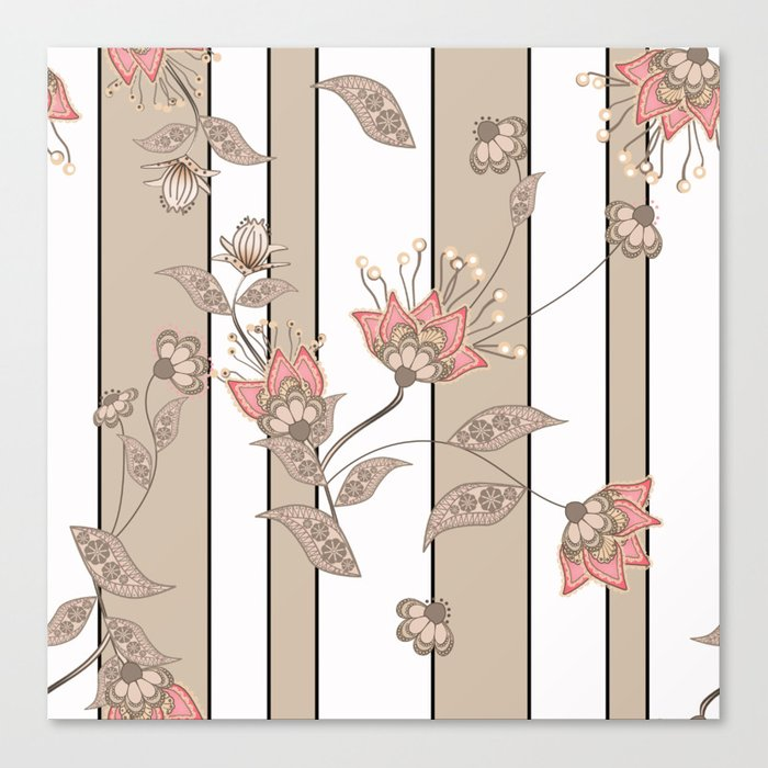 Retro . Floral pattern on a beige striped background . Canvas Print