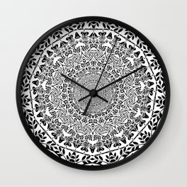 DEEP BLACK AND WHITE MANDALA Wall Clock