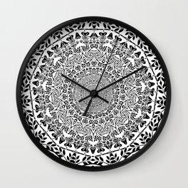 DEEP BLACK AND WHITE MANDALA Wall Clock