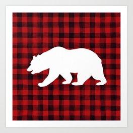 Red Plaid Bear Art Print