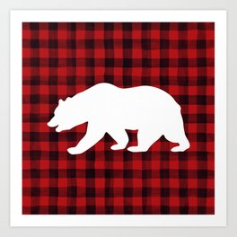Red Plaid Bear Art Print