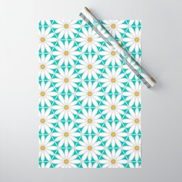 Daisy Hex - Turquoise Wrapping Paper