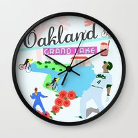 oakland Wall Clocks featuring Oakland by June Chang Studio