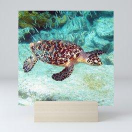 Watercolor Turtle Hawksbill, Just Keep Swimmin'... Mini Art Print