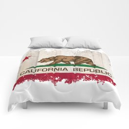 California Republic state Bear flag on wood Comforters