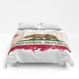 California Republic state Bear flag on wood Comforters
