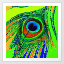 CHARTREUSE GREEN PEACOCK EYE FEATHER DESIGN Art Print