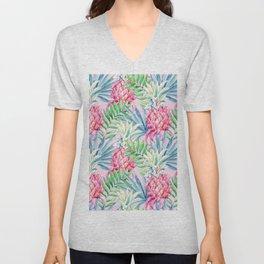 Pineapple & watercolor leaves Unisex V-Neck
