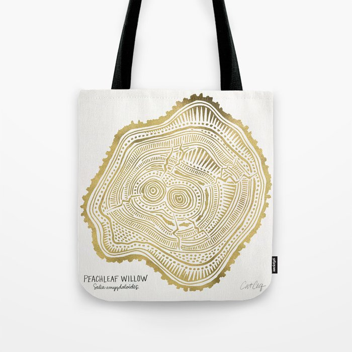 Peachleaf Willow – Gold Tree Rings Tote Bag