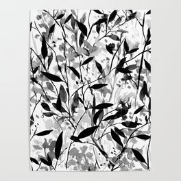 Wandering Wildflowers Black and White Poster